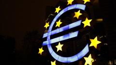 Famous German City Symbol Euro Sign Frankfurt Night Light Iconic German Landmark Stock Footage