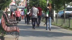 People hurry to work, commuters run for being late, crowded sidewalk in morning Stock Footage
