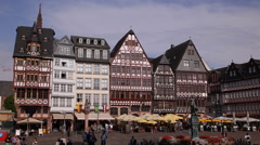 Frankfurt Old City People Tourists Walking Visiting Roemerberg Square Romerplatz Stock Footage