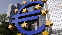 Famous German City Symbol Euro Sign Frankfurt Iconic German Landmark Sunny Day Stock Footage