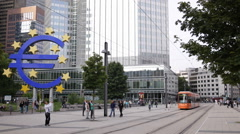 Modern Tram Passing Famous German City Symbol Euro Sign Frankfurt People Walking Stock Footage