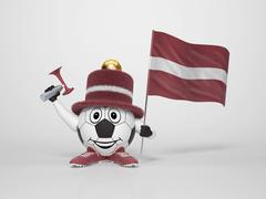 Soccer character fan supporting latvia Stock Illustration