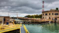 4K UltraHD A fishing boat moves through the Welland Canal, Canada Stock Footage