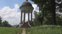 Stairway to cultural mausoleum object, monument in park background, history city Stock Footage