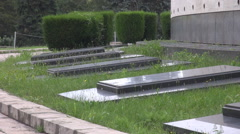 Illustration of death rest places, great green space in cemetery, graves stones Stock Footage
