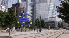 Pedestrian Walking Sidewalk Busy Business Center Euro Sign Frankfurt People Walk Stock Footage