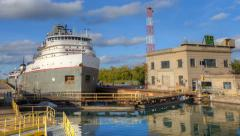 4K UltraHD A lake freighter moving through the Welland Canal, Canada - stock footage