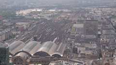 Frankfurt Hauptbahnhof Main Central Station Aerial View Trains Departing Arrival Stock Footage