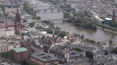 Frankfurt Skyline Main River Cathedral Church Tower Famous Bridges Roemer Square Stock Footage