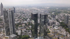Panorama Pan Left Frankfurt Main Aerial View Skyline Business Financial District Stock Footage