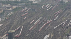 Frankfurt Main Central Railway Station Aerial View Trains Passing Moving Traffic Stock Footage