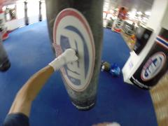 POV Heavy bag / Punching bag work with hand wraps, 100FPS, 960p Stock Footage