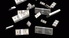 Stacks of money falling on black Stock Footage