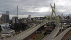 Aerial View from Octavio Frias Bridge in Sao Paulo, Brazil Stock Footage