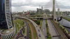 Aerial View from Octavio Frias Bridge in Sao Paulo, Brazil Stock Footage