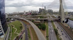 Aerial View from Ponte Estaiada in Sao Paulo, Brazil Stock Footage