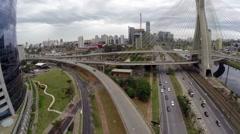 Aerial View from Ponte Estaiada in Sao Paulo, Brazil Stock Footage