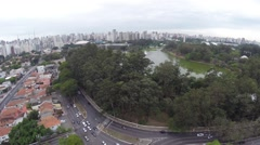Aerial View from Ibirapuera Park in Sao Paulo, Brazil Stock Footage