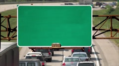 4K Blank Highway Roadsign Above Road - stock footage