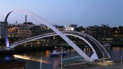 Timelapse of Gateshead Millennium Bridge at Dusk Stock Footage