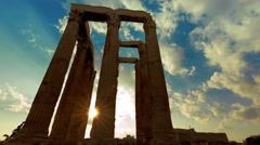 4K Athens Greece Temple of Zeus Ancient Olympeion sunset timelapse Stock Footage