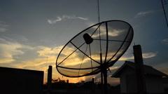 Satellite Dish on sunset. HD - stock footage