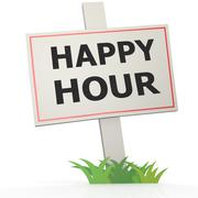 white banner with happy hour - stock illustration