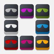 Square button: sunglasses Stock Illustration