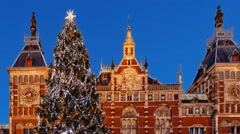 Pan Christmas tree near Central Station, Amsterdam, timelapse Stock Footage
