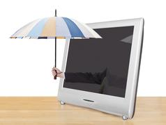 Hand with umbrella pops out of tv screen Stock Illustration