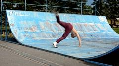 Breakdancer in the skate park Stock Footage