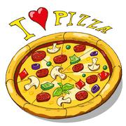 Hand drawing pizza - stock illustration