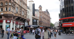 UltraHD 4K Leicester Square Shopping Street Charing Cross Road Cranbourn People Stock Footage