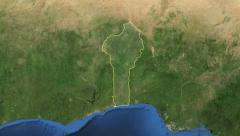 Benin. 3d earth in space - zoom in on Benin contoured 4k Stock Footage