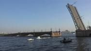 Stock Video Footage of Aurora cruiser passes under bridge span Troitsky drawbridge. Time Lapse. 4K.