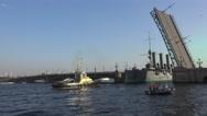 Stock Video Footage of Aurora cruiser passes under bridge span Troitsky drawbridge. 4K.