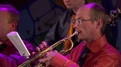 Men play the trumpet at a concert, Kiev, Ukraine Stock Footage