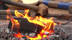 Fire at the forge table, Ukraine Stock Footage