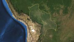 Bolivia. 3d earth in space - zoom in on Bolivia contoured 4k Stock Footage
