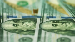 American money in denominations of 100 dollars close up Stock Footage