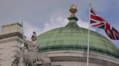 National British Flag Union Jack London England United Kingdom Blue Sky Daylight Stock Footage