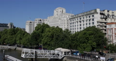 UltraHD 4K Art Deco Building London Savoy Hotel Great Britain Sunny Day UK Stock Footage