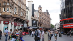 Leicester Square Pedestrians Shopping Street Charing Cross Road Cranbourn People Stock Footage