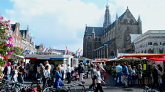 Grote Kerk (Large Church) on the Grote Markt, Haarlem, Netherlands. Stock Footage