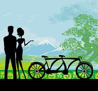 Stock Illustration of sillhouette of sweet young couple in love standing in the park