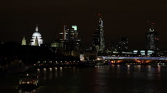 St Paul Cathedral London Skyline Office Tower Skyscrapers Buildings Night Lights Stock Footage