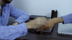 Bored Business Men Playing With Paper Balls, Office, Desk, Late Hours, Pan Stock Footage
