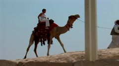 Riding a camel Stock Footage