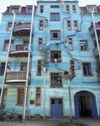 Stock Photo of blue house facade
