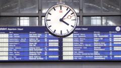 Departure Schedule Timetable Railway Station Frankfurt Clock Display Billboard Stock Footage